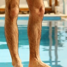 Half Leg male waxing session using Brazilian hot beeswax lasts thirty minutes