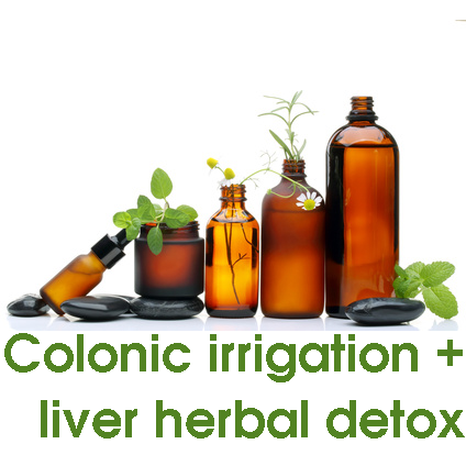 Colonic irrigation with a liver and gall bladder stimulating herbal implant